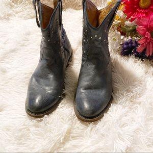•Miz Mooz Blue Studded Cowboy Booties Sz 7